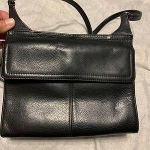 Fossil Black Leather Crossbody Organizer Bag